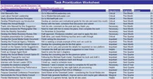 Spreadsheet for prioritizing your tasks and managing your time