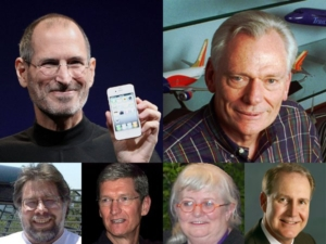 Steve Jobs, Herb Kelleher, Steve Wozniak, Tim Cook, Colleen Barrett, Gary Kelly