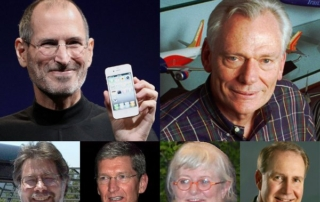 Steve Jobs, Herb Kelleher, Steve Wozniak, Tim Cook, Colleen Barrett, Gary Kelly