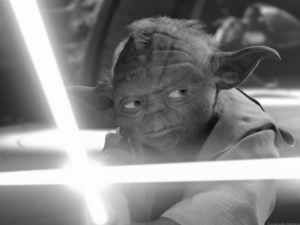 Yoda Fighting Evil with Light Saber