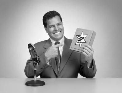 Retro pitch man in black and white from a 1950's era TV commercial