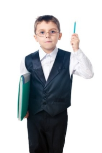 Naive Child in Suite with Pencil