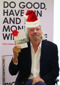 Richard Branson in a Santa Hat