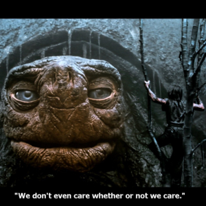 Morla the Giant Turtle says - We Dont Even Care, Whether or Not We Care
