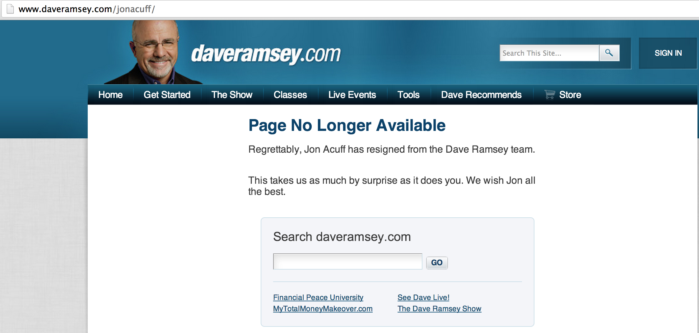 Screen Shot Of Dave Ramsey's Page