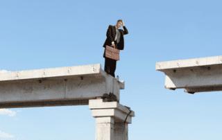 Man Confused by Gap in Bridge