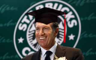 Howard Schultz CEO in College Graduation Cap