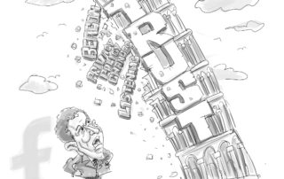 Mark Zuckerber staring down a leaning tower of Trust yelling, we don't need trust!
