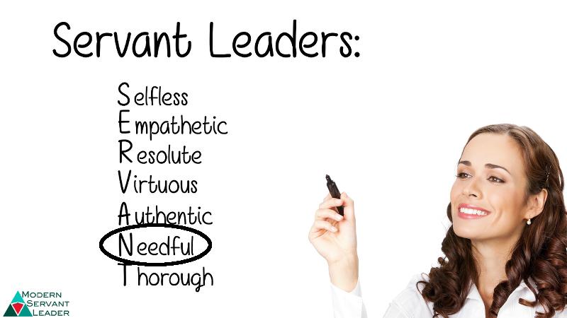 Business woman writing SERVANT acronym and circling NEEDFUL