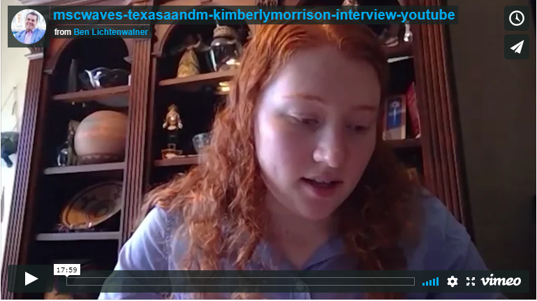 An Interview Screen Grab of Kimberly Morrison of Texas A&M MSC FISH WAVES program