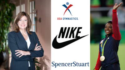 Mary Bono, Simone Biles, USA Gymnastics, Nike, and Spencer Stuart