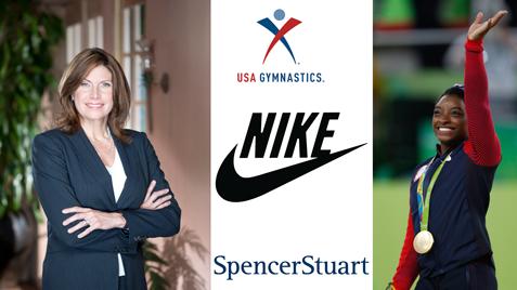 Mary Bono, Simone Biles, USA Gymnastics, Nike, and Spencer Stuart