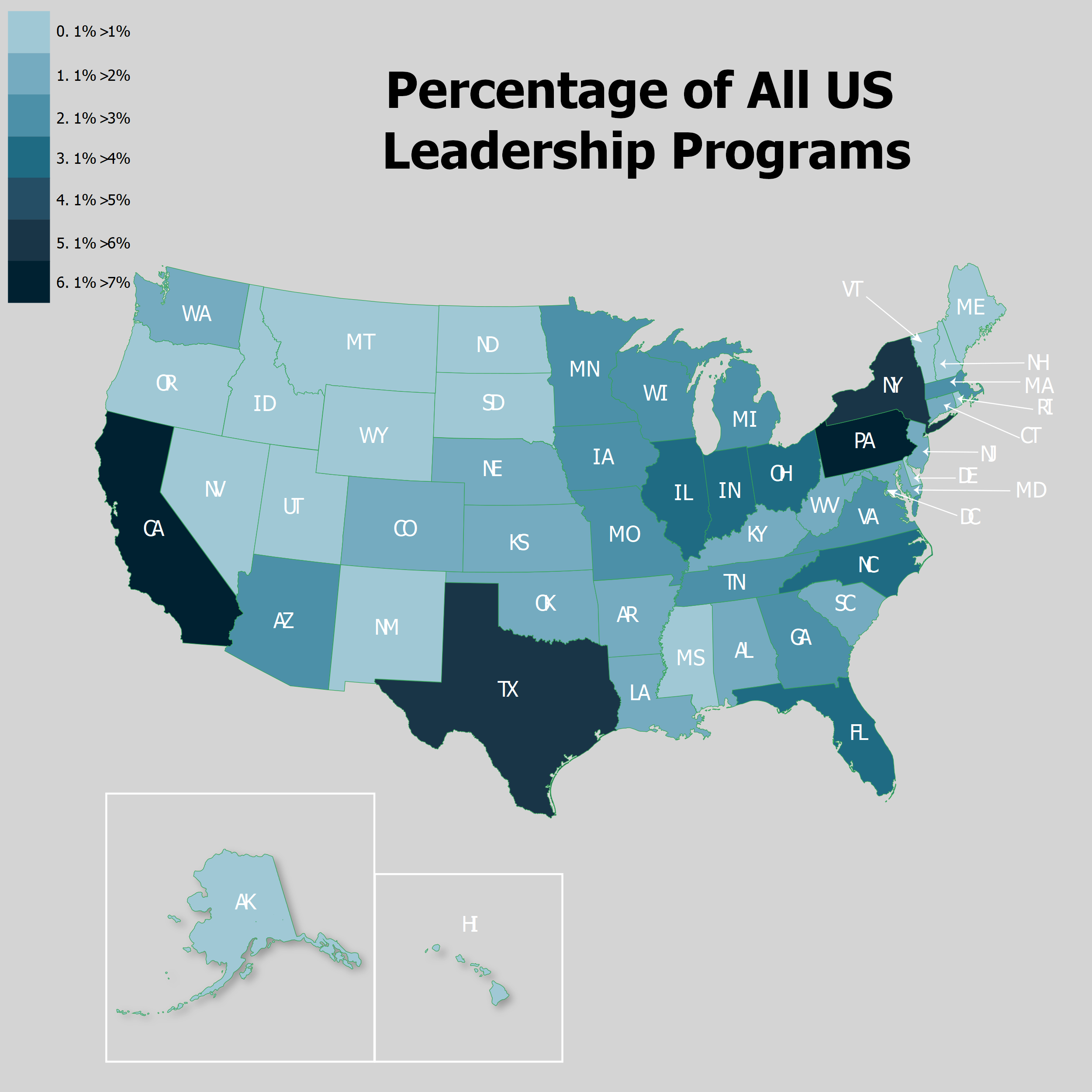 Heat map displaying the percentage of all leadership programs across the united states, within a state, by state