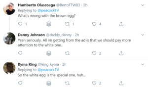 Peacock Racist Ad Twitter Comment Highlights