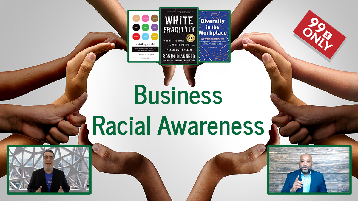Diverse Skin Tones of hands forming the outline of two faces. Three books at the top are displayed: White Fragility, Whistling Vivaldi, and Diversity in the Workplace. There are also profile pictures of Ben Lichtenwalner and Glen Guyton.