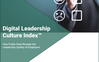 Digital Leadership Culture Index Study Cover - How Public Data Reveals Employer Leadership Quality - Businessman checking employee feedback scores
