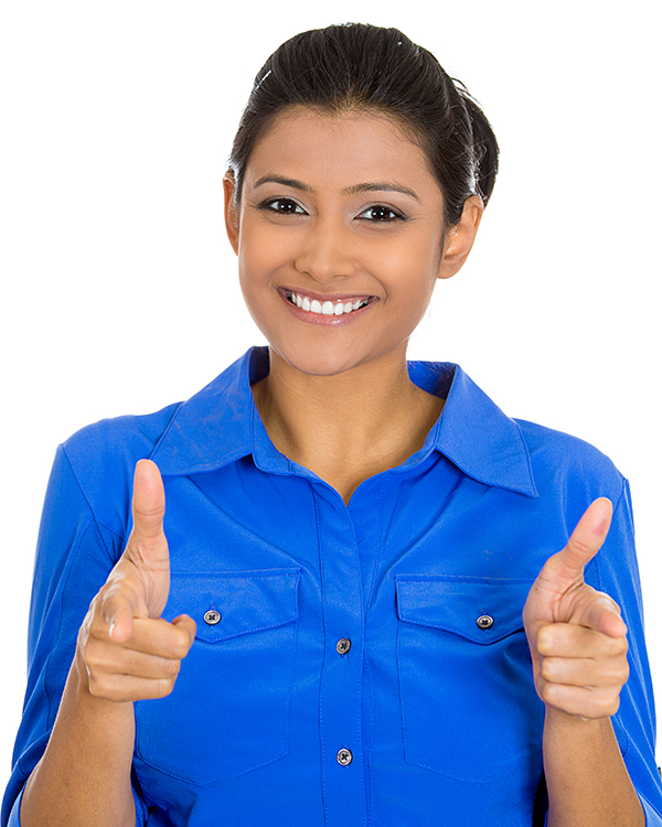 Asian Emerging Leader Professional Woman Wearing Blue Dress Shirt Smiles While Pointing at You the Reader